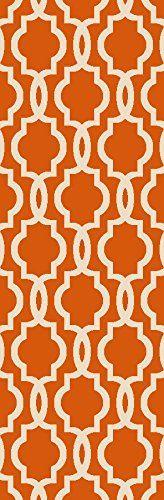 "Rubber Backed 21"" x 60"" Fancy Moroccan Trellis Orange & Ivory Runner Non-Slip Rug - Rana Collection Kitchen Dining Living Hallway Bathroom Pet Entry Rugs RAN204ORG-25 Kapaqua http://www.amazon.com/dp/B019PU6RSY/ref=cm_sw_r_pi_dp_fXx2wb0VJ39PW"