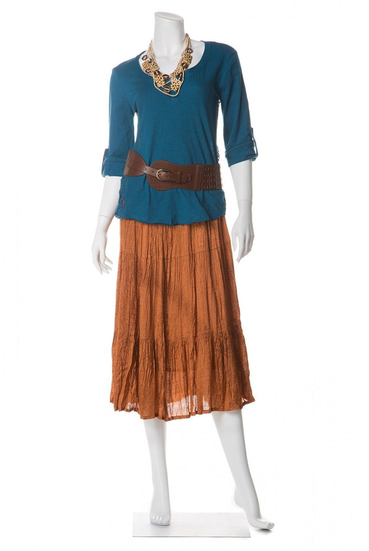Type 3 Shining Through Outfit: great belt with the turquoise top and copper skirt. #Style #DYT #Type3 #Woman