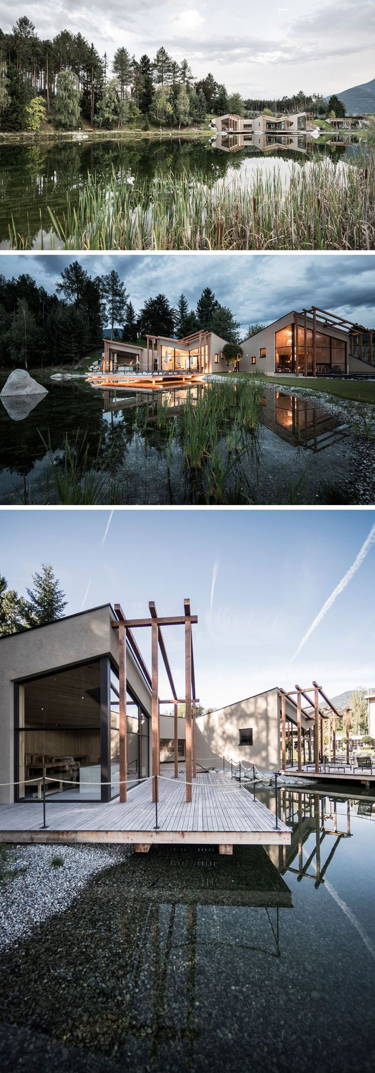 Hotel Seehof, a family-run hotel in Italy that sits next to a small natural lake, has been given a fresh and modern update by noa* – network of architecture. #ModernHotel #Italy #Vacation #ModernArchitecture