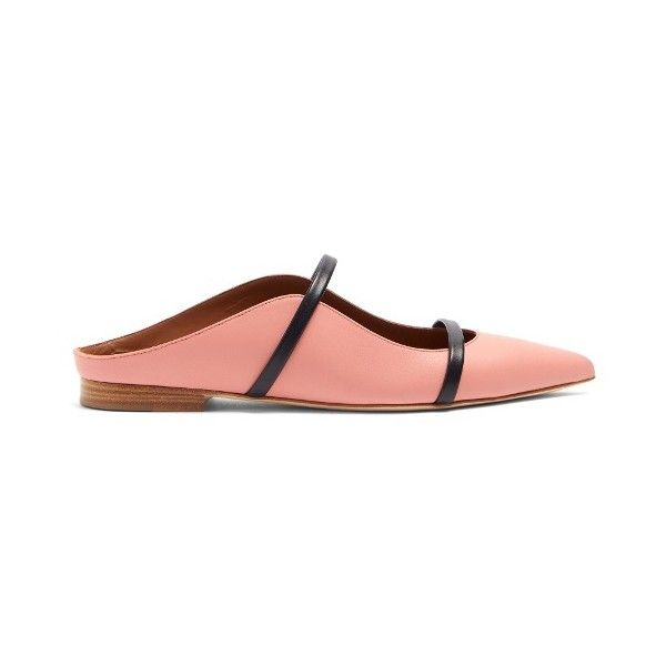 Malone Souliers Maureen leather flats (2.260 RON) ❤ liked on Polyvore featuring shoes, flats, pink navy, pointy-toe flats, navy blue pointed toe flats, navy blue flats, dressy flat shoes and pink flats