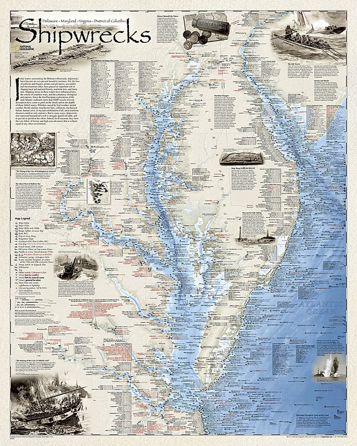 Shipwrecks of the Delmarva, Folded Wall Map by National Geographic Maps – YellowMaps