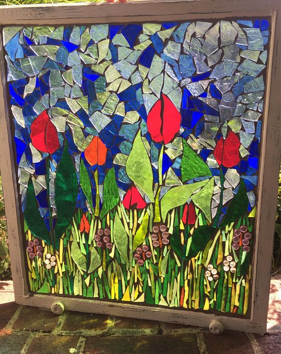 Tulip Blooms stained glass mosaic window frame. Mosaic stained