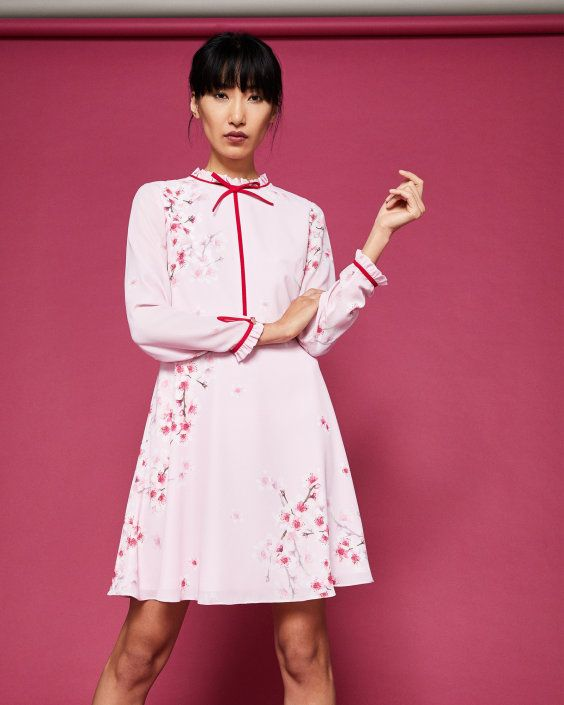 Peach Blossom neck tie dress - Light Pink | Dresses | Ted Baker