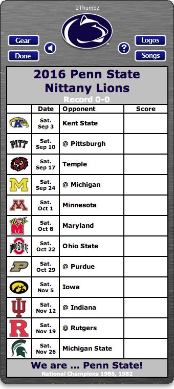 BACK OF MAC APP - 2016 Penn State Nittany Lions Football Schedule App for Mac OS X - We are … Penn State - National Champions 1986, 1982 http://2thumbzmac.com/teamPages/Penn_State_Nittany_Lions.htm