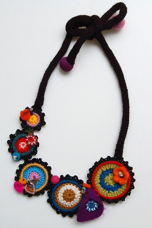 Multicolored necklace with crocheted rings by StudioKarma on Etsy