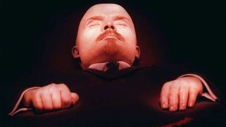In this April 16, 1997 file photo, the embalmed body of Vladimir Lenin, founder of the Soviet Union, is on display in his tomb on Moscow's Red Square.   (AP Photo/Sergei Karpukhin, File)