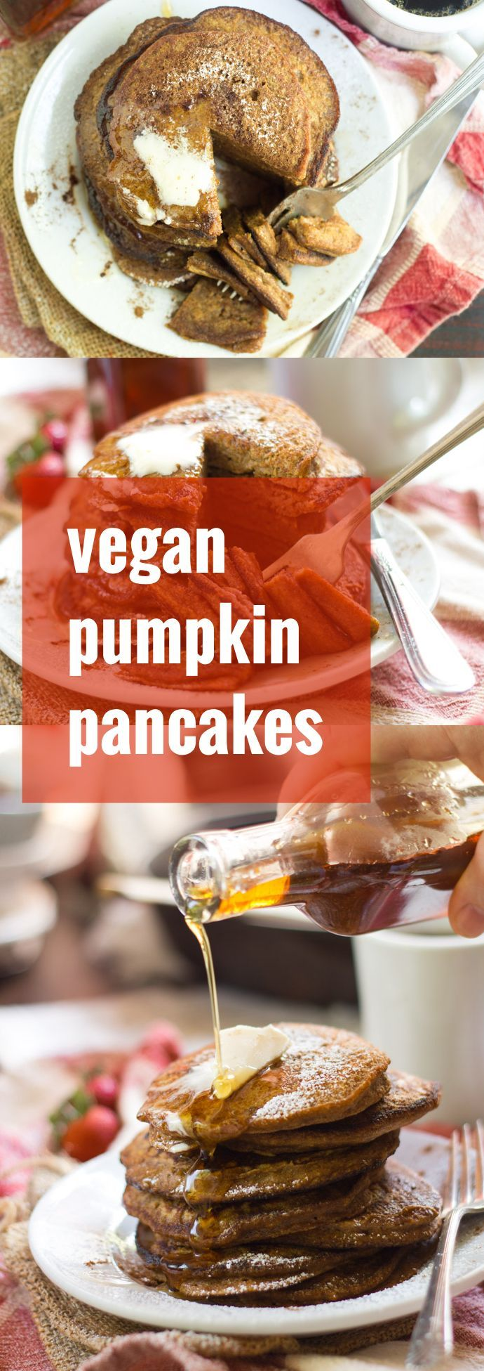 Celebrate fall (or any time, for that matter!) by breakfasting on a maple syrup-drenched stack of these moist, fluffy and spice-infused vegan pumpkin pancakes.