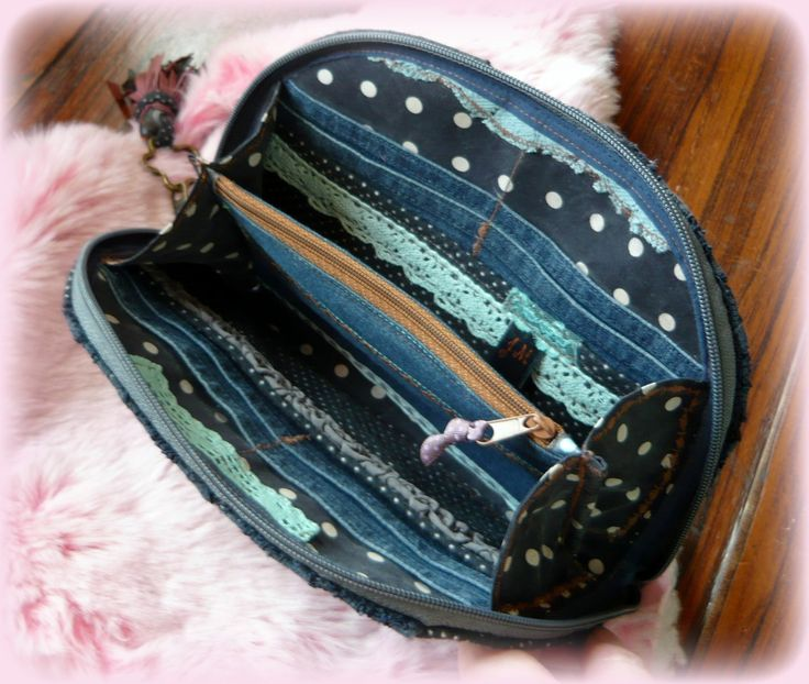 Handmade by Judy Majoros - Denim-lace wallet-clutch with polka dots and leather fringe. Recycled wallet-bag.