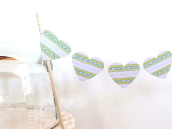 Green Blue White Striped Paper Heart Garland Cake by ShastaBlue, $3.00