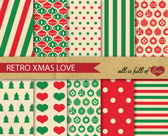Check out Christmas Patterns Set - Retro Style by Allfulloflovee on Creative Market