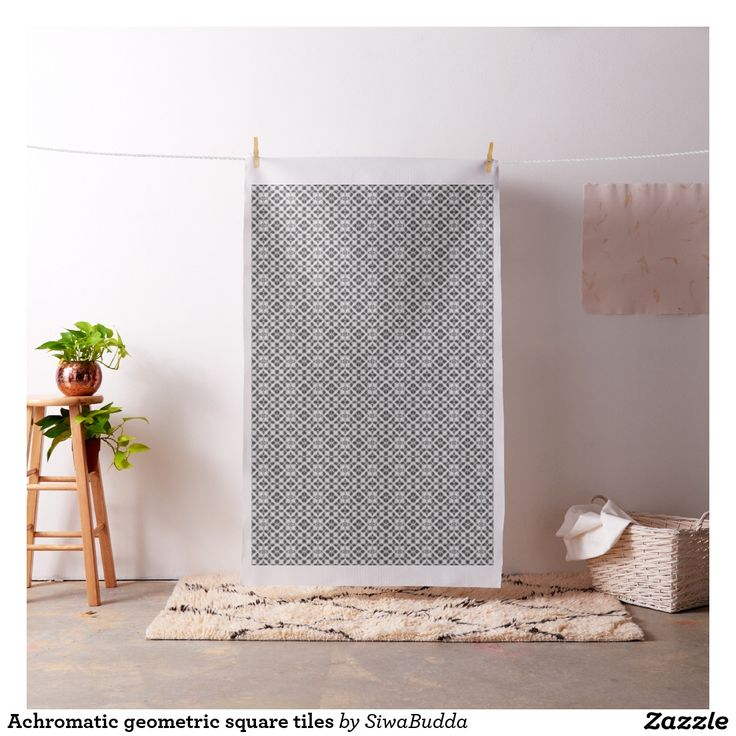 Achromatic geometric square tiles fabric