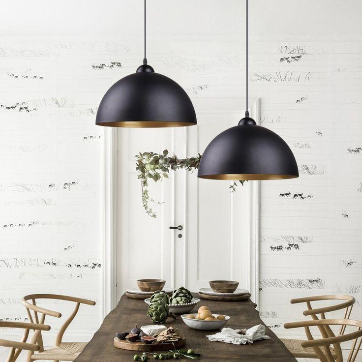 BAYTTER® Design 2x Industrielle Vintage LED Pendelleuchte Hängeleuchte Φ  30cm Für E27 Leuchtmittel, Schwarz