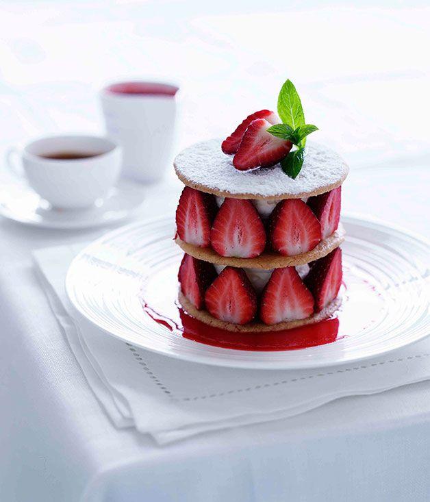 Strawberry shortbread - Gourmet Traveller #plating #presentation Mille feuille tower? Pastry dessert/ menu item for restaurant. Plated dessert