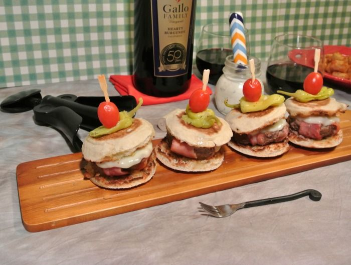 Game Day Wine and food Pairings with #SundaySupper and #GalloFamily. These Bacon Wrapped Bison Burger Sliders are a perfect Game Day favorite.
