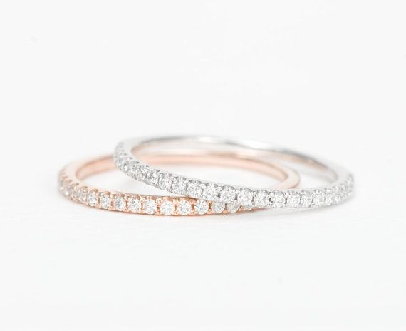 Diamond Half Eternity Wedding Band 14K Rose Gold / http://www.himisspuff.com/wedding-bands-for-women/7/