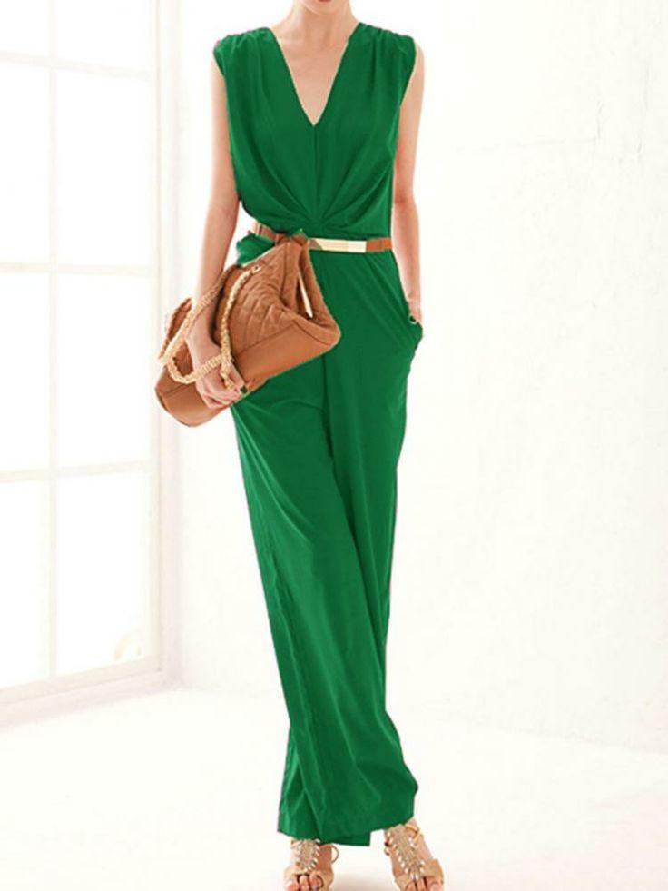 Green V-neck Loose Jumpsuit - Choies.com