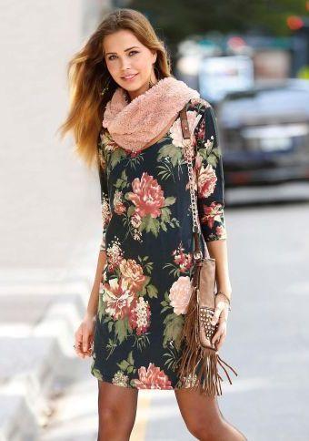 Šaty s potiskem a 3/4 rukávy #ModinoCZ #autumn #fall #fashion #trendy #stylish #fallfashion #moda #podzimnimoda #trend