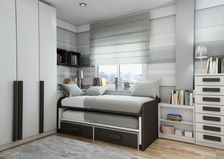 Cool Tween Boys Bedroom Design Ideas 2014 : Adorable White and Grey Tween Boys Bedroom with Minimalist Shared Bed and Large Closet also Blac...