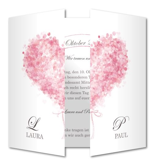Einladungskarte Hochzeit Rosafarbenes Klappherz (RFE-496)