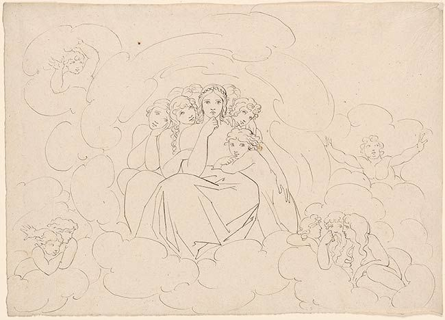 John Flaxman | Goddess Surrounded by Maidens, Seated among Clouds | The Morgan Library & Museum