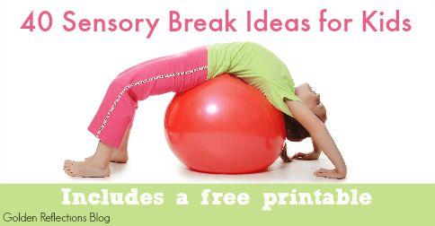 Sensory Break Ideas for Kids via @lemonlimeadv