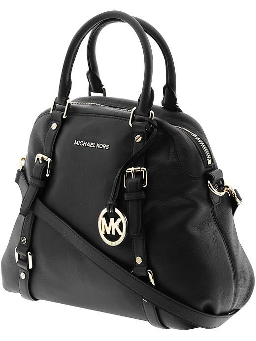 MICHAEL Michael Kors Bedford Large Bowling Satchel found on Polyvore featuring polyvore, women\u0026#39;s fashion, bags, handbags, purses, leather satchel handbags, ...