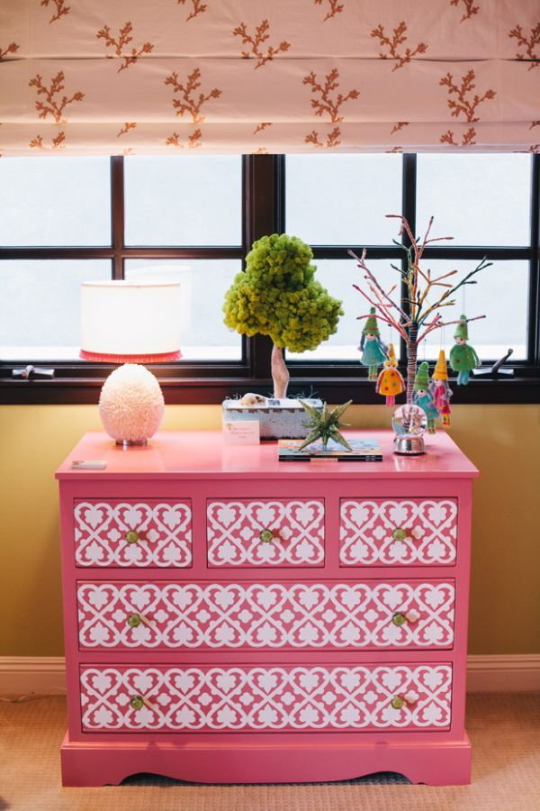 Pink hand-painted dresser could be done with any color though