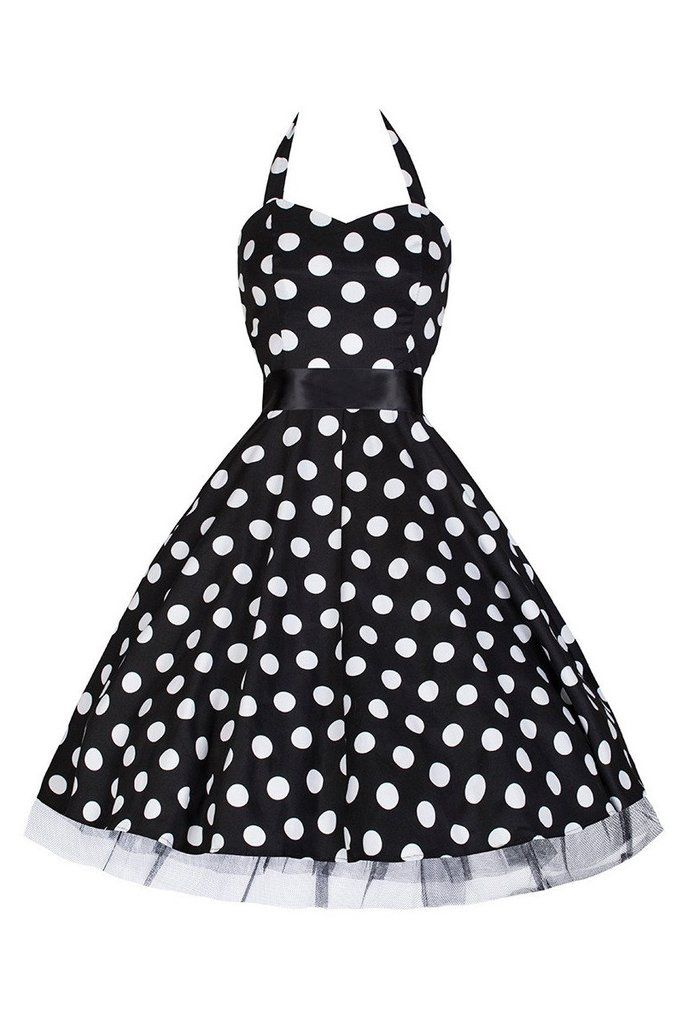 Black and White Polka Dot Rockabilly Swing Prom Pin-Up Dress
