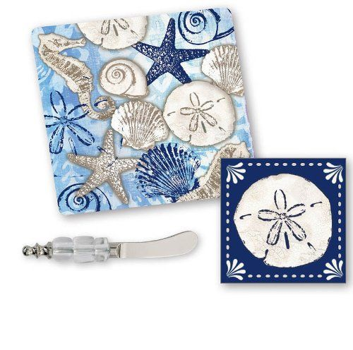 Coastal Glass Cutting Board with Napkins & Spreader Set | LaBelle's General Store: Beach Kitchen