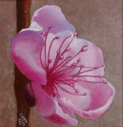Peinture florale Fleur du pêcher acrylique sur toile