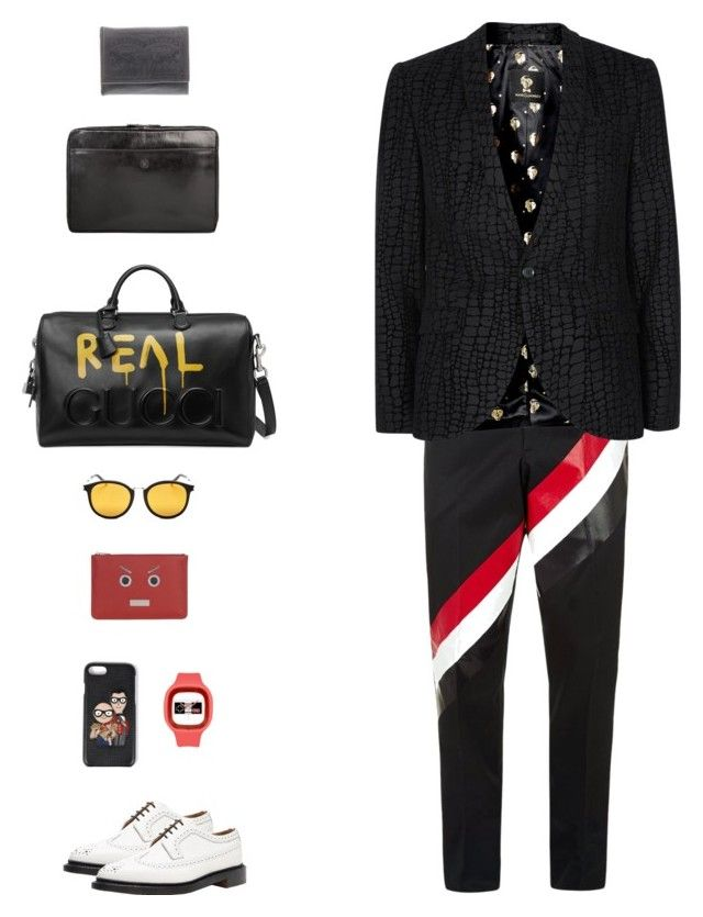 """""""Saint Laurent Classic Mirrored Round Sunglasses"""" by lua4lma ❤ liked on Polyvore featuring Maxwell Scott Bags, Thom Browne, Topman, Gucci, Levi's, Yves Saint Laurent, Dolce&Gabbana, Fendi, men's fashion and menswear"""