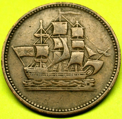 1835 Prince Edward Island Halfpenny SHIPS COLONIES & COMMERCE Token Coin SCARCE!