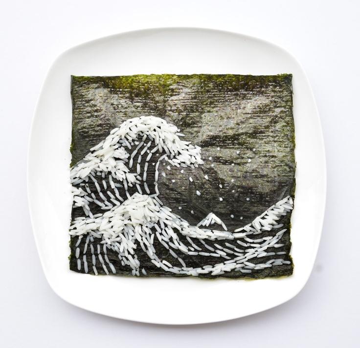 """My adaptation of """"The Great Wave off Kanagawa"""" by Hotsukoi Katsushika made of long grain rice and nori!"""