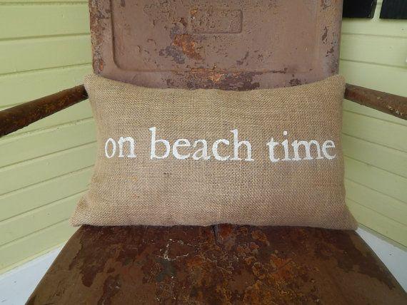 On Beach Time Painted Burlap Pillow Custom Colors by TakeFlyteFarm