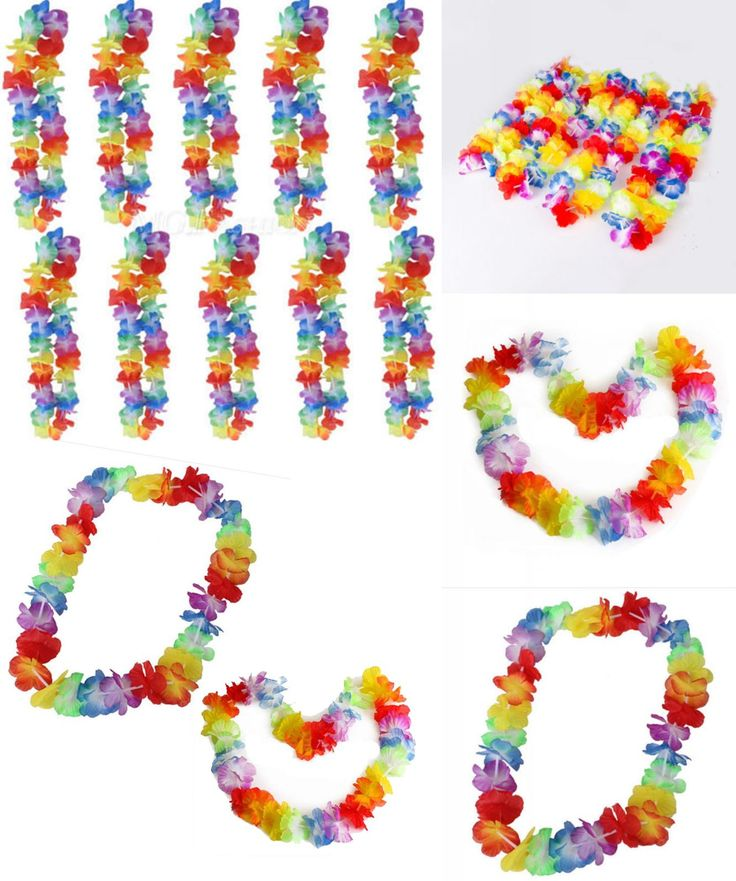 [Visit to Buy] 10pcs Hawaiian Flower leis Garland Necklace Fancy Dress Party Hawaii Beach Fun Flowers DIY Party Beach Decoration #Advertisement