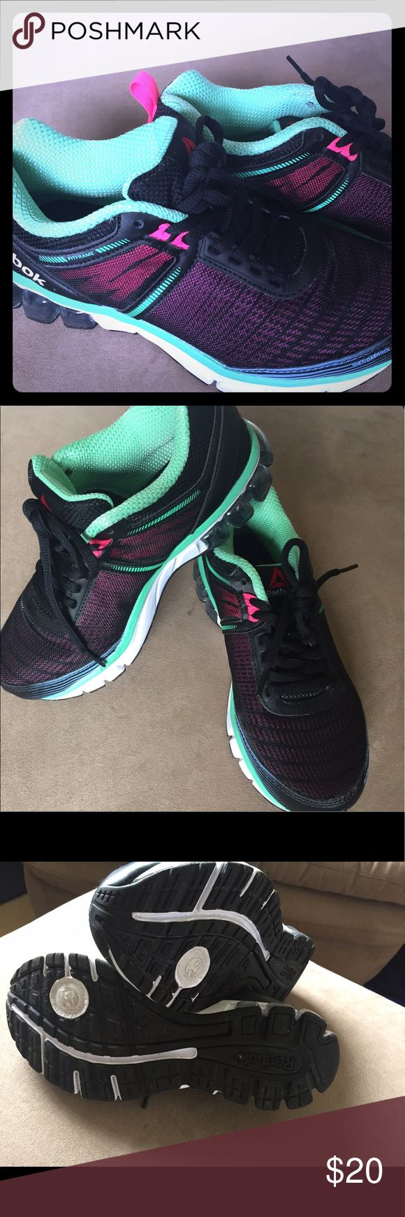 Size 5 Reebok jet dashride 2.0 running shoe Worn once these are size 5 but fit like a 5.5 comfortable, bright colors but not flashy! Purchased brand new and only selling because I have too many pairs and these are a little big. No flaws Reebok Shoes Athletic Shoes