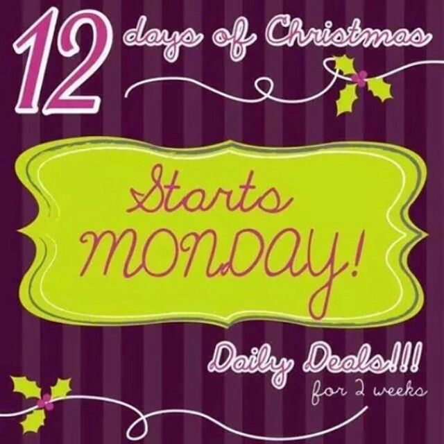 12 Days of Christmas Daily Deals.  www.marykay.com/mgidney Call or text (312) 241-8351 FB. IG. TW.
