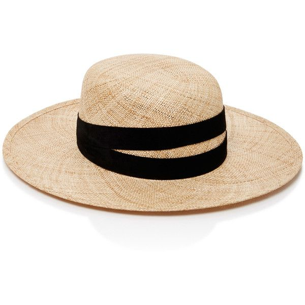 Janessa Leone Leather-Trimmed Straw Hat ($250) ❤ liked on Polyvore featuring accessories, hats, straw fedora hat, janessa leone, wide brim straw fedora, janessa leone hats and straw hat
