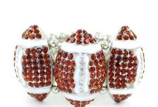 Bold and Blingy Rhinestone embellished Football stretch bracelet
