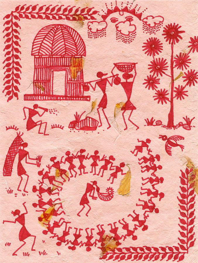 A Typical Warli Day Painting  - Subhash Limaye, Piscataway, NJ - United States