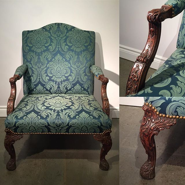 Pair of mid-19th century carved walnut english armchairs. Spectacular form, size, condition, carving, and upholstery.  Start your own Dowton Abbey parlour! #19thcentury #english #antiques #antique #downtonabbey #opulent #opulence #availablenow #contextdesignca #toronto