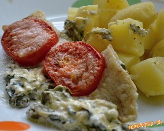 Rybie filé zapečené so špenátom a syrom