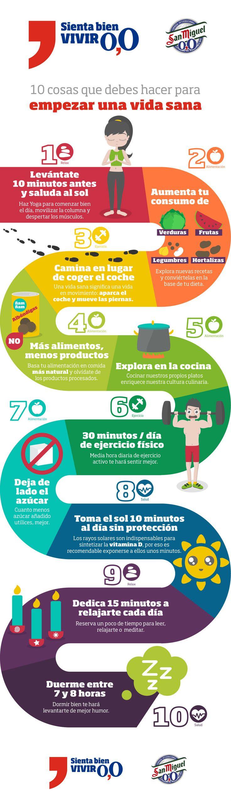 Cómo aumentar tu bienestar y comenzar a llevar una vida más sana y saludable. 10 pequeños cambios en nuestro día a día para lograrlo. Infografía.