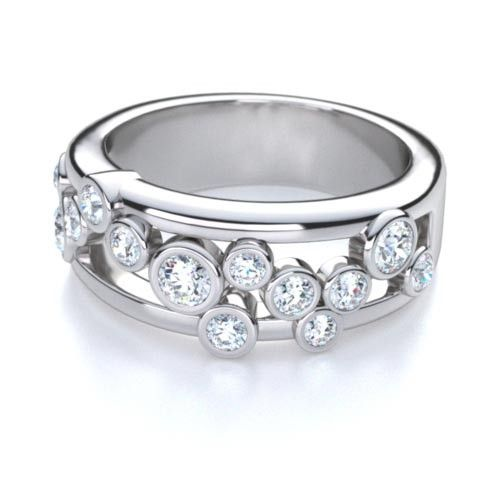This contemporary 14kt white gold fashion bezel set right hand fashion ring is stunning and can express your unique individuality. #diamondwave #righthandrings #diamondfashion