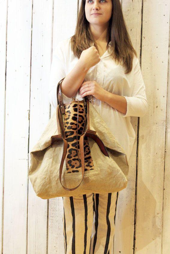 MONTECARLO BAG calf hair Handmade Italian Leather & Canvas Tote Handbag di LaSellerieLimited su Etsy