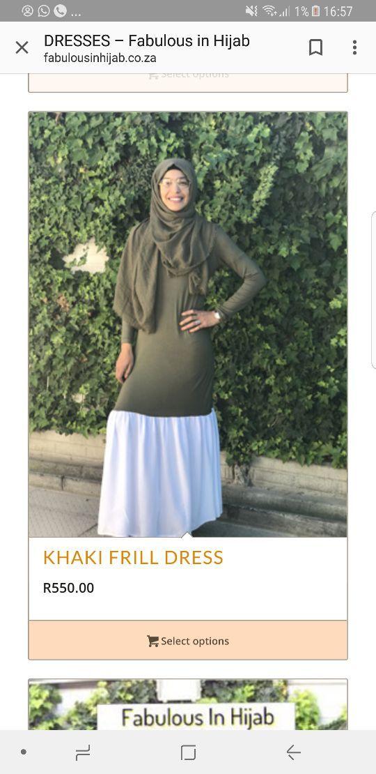 Khaki frill T-shirt dress www.fabulousinhijab.co.za 0845531694 whatsapp