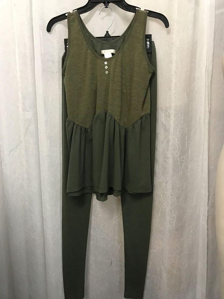 Coco La Rue Wendy Glez Olive Tank Chemise / Leggings Set Size Small NWOT #wendyglez #PajamaSets #Everyday