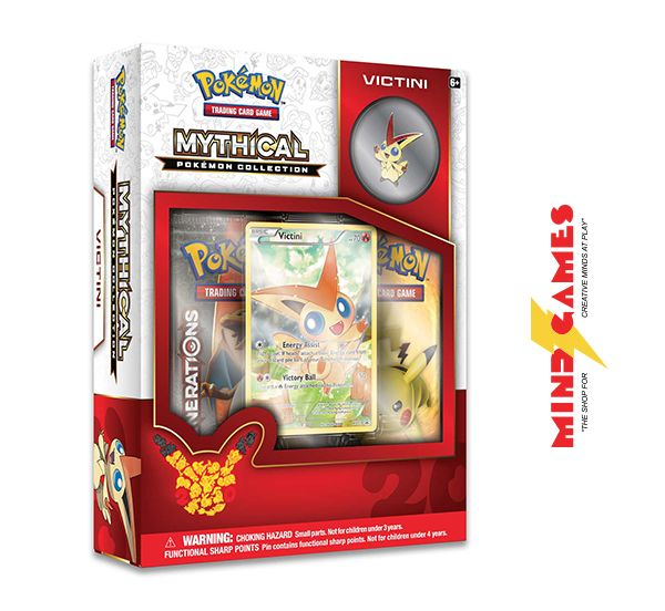 Unleash the untapped power of mysterious mythical Pokemon with the Pokemon TCG: Mythical Pokemon Collection Victini! Now is your chance to put Victini under your helm, as these Pokemon usually mysteriously appear when they choose to! The Pokemon TCG: Mythical Pokemon Collection Victini features a never-before-seen foil promo card featuring Victini, a Victini collector's pin, 2 booster packs from the Pokemon TG: Generations expansion and a code card for use with Pokemon Trading Card Game…