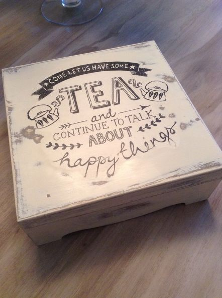 How to DIY tea box with  chalk paint and mod podge #plaidcrafts