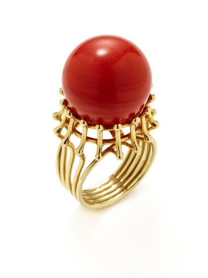 Ca. 1980's Coral Cutout Ring by Tara Compton, like the ring i lost. :(
